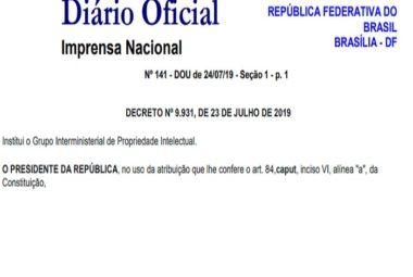 Decreto institui o Grupo Interministerial de Propriedade Intelectual