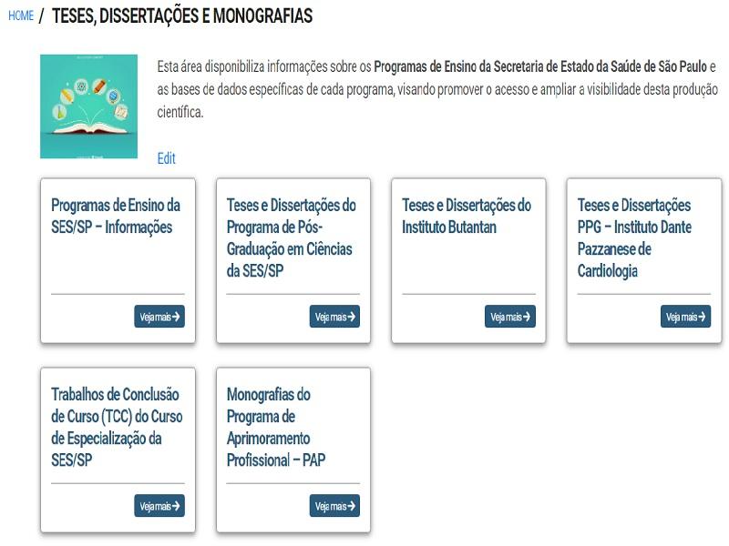 Produção científica dos Programas de Ensino da SES/SP