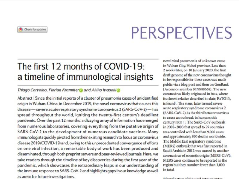 Nature Reviews Immunology publica artigo sobre os primeiros 12 meses da Covid-19