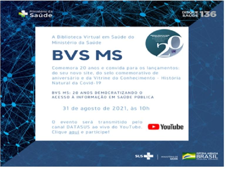 Biblioteca Virtual em Saúde do MS completa 20 anos e convida para evento comemorativo on-line